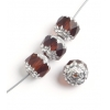 Fire polished Cathedral 9mm Transparent topaz/silver ends